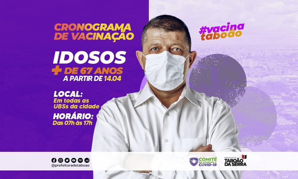 Maiores de 67 anos serão vacinados contra a Covid-19 a partir de quarta-feira, 14/04